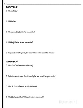 The Hate U Give Reading Comprehension Worksheets Ch. 1-6