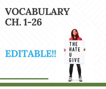 The Hate U Give Vocabulary For Entire Book By Curtis Sensei Tpt