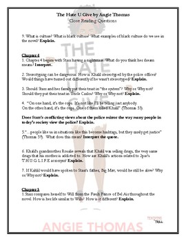 The Hate U Give by Angie Thomas Chapter 1-5 Higher Order Questions