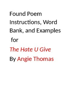 The Hate U Give by Angie Thomas Found Poem Word Bank, Instructions, and Examples