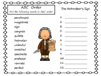 The Hatmaker's Sign ~ A Story by Benjamin Franklin 29 pgs Common Core Activities