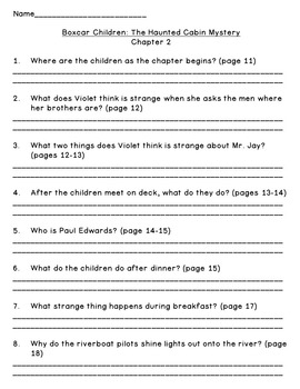 The Haunted Cabin Mystery--Level O--Guided Reading Comprehension Questions