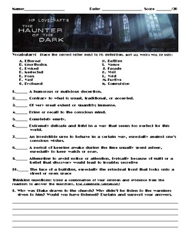 The Haunter of the Dark by H. P. Lovecraft Assignment