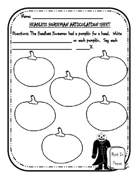 The Headless Horseman Articulation and Language Sheets
