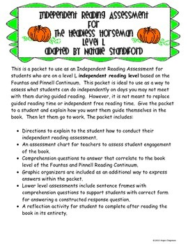 The Headless Horseman- Independent Reading Assessment- Level L