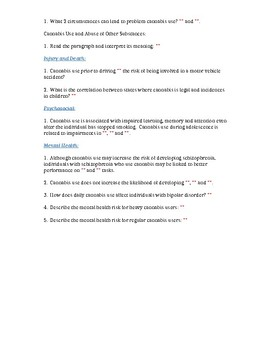 The Health Effects of Cannabis Worksheet and KEY