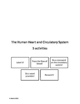 The Heart and Circulatory System 5 Activities
