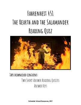 The Hearth and the Salamander Reading Quiz (Fahrenheit 451)