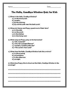 The Hello, Goodbye Window Quiz for Kids