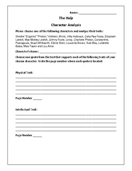 The Help - Character Analysis Activity - Kathryn Stockett