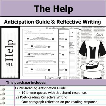 The Help by Kathryn Stockett - Novel Anticipation Guide & Reflection Writing