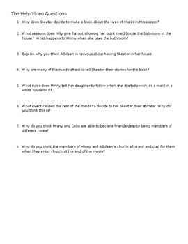 The Help Video Questions for US History