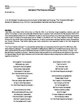 The Help by Kathryn Stockett-- Bob Dylan Allusion