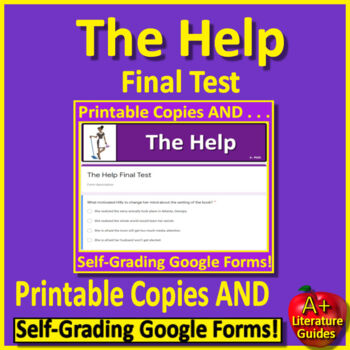 The Help Final Test by Kathryn Stockett - Printable AND Paperless Self-Grading!