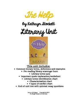 The Help by Kathryn Stockett Novel Unit