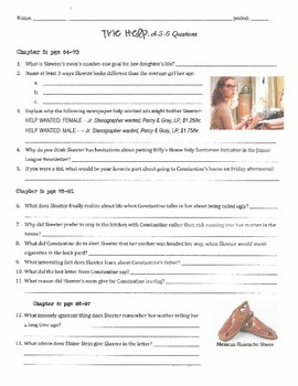 The Help - Kathryn Stockett: ch 5-6 Questions w/ Answer Key