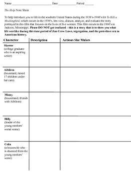The Help film notes sheet