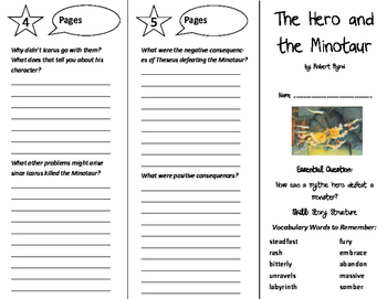 The Hero and the Minotaur Trifold - Journeys 6th Grade Unit 4 Wk 3 (2014, 2017)