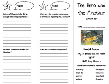 The Hero and the Minotaur Trifold - Wonders 6th Grade Unit 5 Week 1