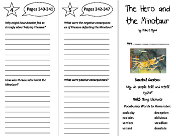 The Hero and the Minotaur Trifold - Wonders 6th Grade Unit