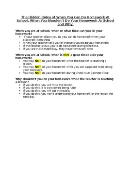 The Hidden Rules of When You Can Do Homework At School Social Story