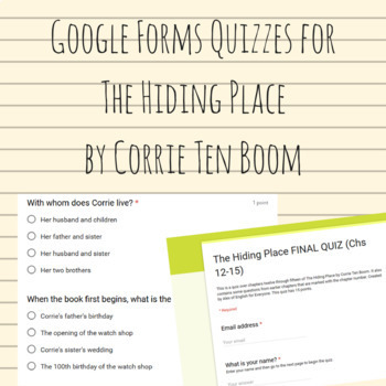 The Hiding Place Google Forms Quizzes