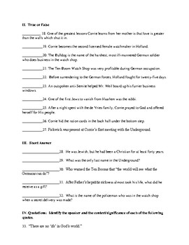The Hiding Place (by Corrie Ten Boom) Chapter 4-6 Quiz or Test