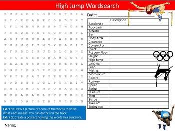 The High Jump Wordsearch Sheet Starter Activity Keywords PE SPorts