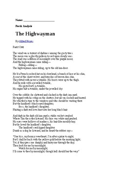 The Highwayman Analysis Guide