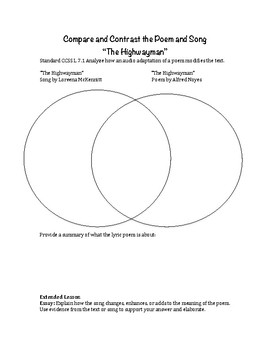 The Highwayman: Compare and Contrast the poem and song
