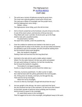 The Highwayman Poem Skills Assessment (Quiz or Test)