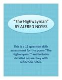 The Highwayman Poem Skills Assessment (Quiz or Test)