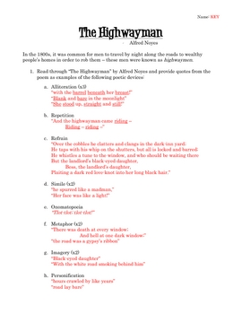 """The Highwayman"" - Text, Worksheet, and Key"