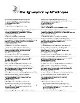 The Highwayman by Alfred Noyes - Creative Teaching Packet
