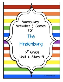 The Hindenberg Vocabulary Games & Activities Unit 6 Story 4