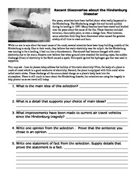 The Hindenburg -  5th Grade Reading Street Study Guide