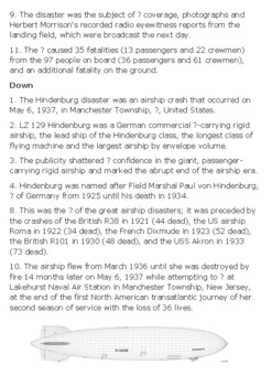 The Hindenburg Disaster Crossword