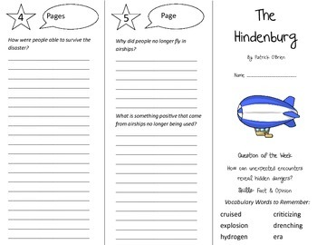 The Hindenburg Trifold - Reading Street 5th Grade Unit 6 Week 4