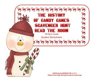 The History  of Candy Canes  Scavenger Hunt- Read The Room- Grades 3-6
