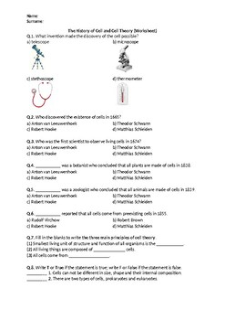 The History of Cell and Cell Theory - Worksheet