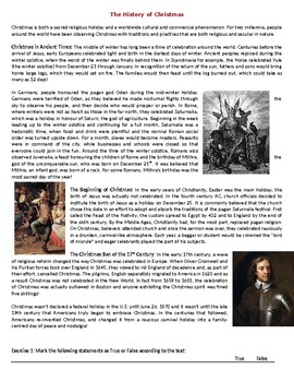 The History of Christmas - Reading Comprehension Worksheet