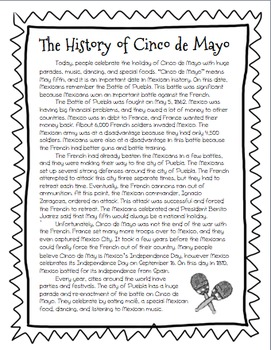 The History of Cinco de Mayo! Informational Text and Activities!