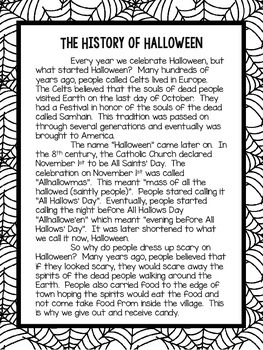 The History of Halloween Informational Text and Questions FREEBIE