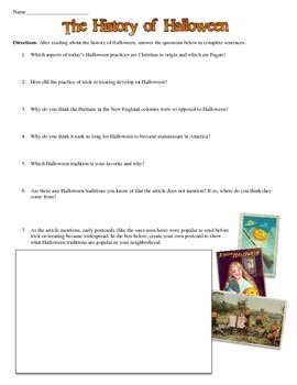 Halloween's History Reading and Worksheet