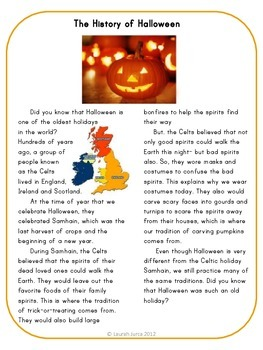 The History of Halloween Summarizing Activity