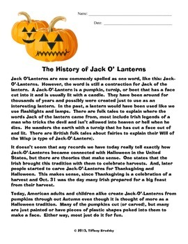 The History of Jack-O'-Lanterns Comprehension Passage and Questions with a Key!