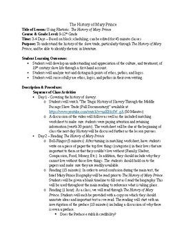 The History of Mary Prince Four-Five Day Lesson