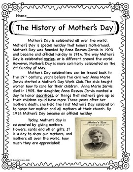 The History of Mother's Day Fun Pack