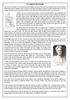 The History of Mother's Day - Reading Comprehension Text
