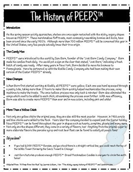 The History of PEEPS™ Nonfiction Reading and Questions